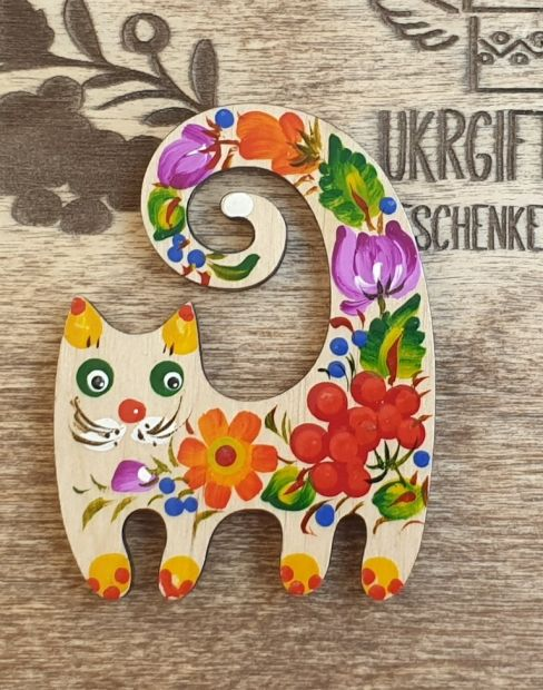 Animal magnet for refrigerator Cat, creative gift for cat lovers, Petrykivka painting