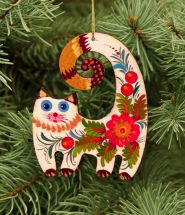 Handmade cat christmas decoration, painted on wood in ukrainian style