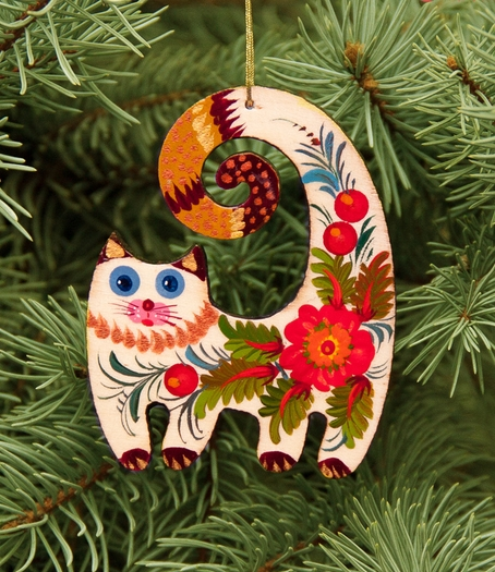 Handmade cat christmas decoration, painted on wood in ukrainian style