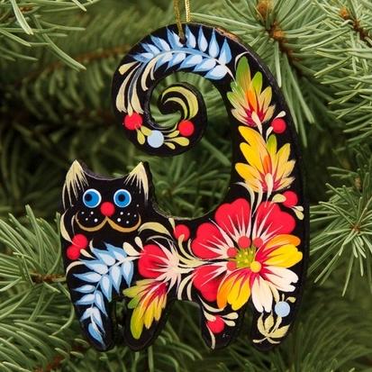 Cat Christmas ornaments painted ukrainian