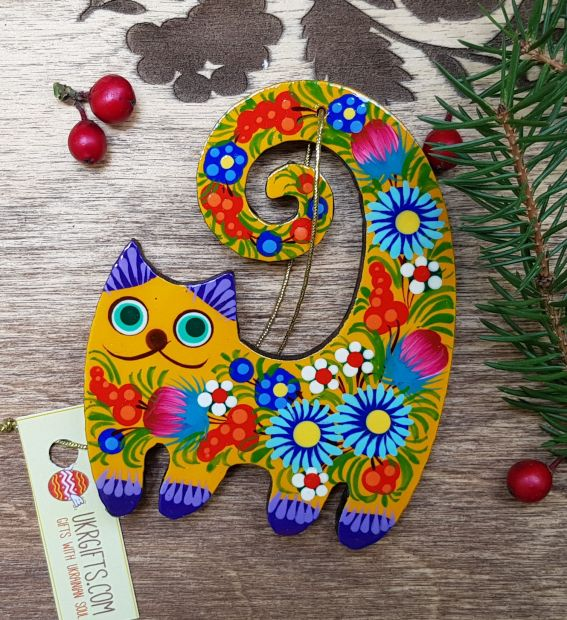Funny cat, wooden christmas ornament, animal christmas decoration