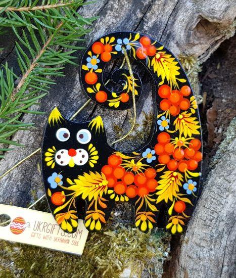 Tierfigur für Weihachtsbaum - Katze mit roten Beeren