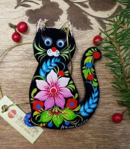 Black cat wooden christmas decoration for children, handmade painted gift for cat lovers