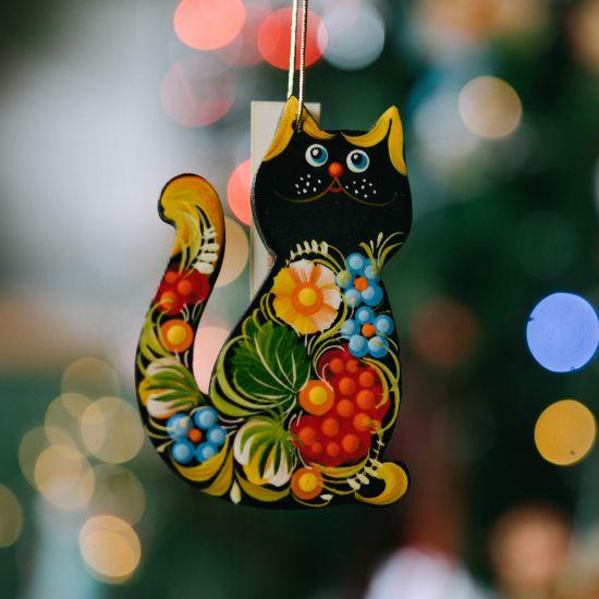 Black cat -tree decoration, ukrainian painting