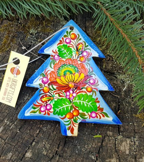 Wooden christmas tree decoration, unique hand painted christmas tree