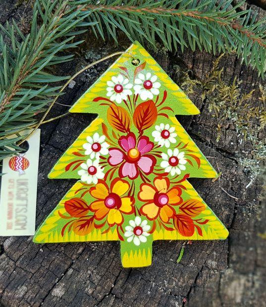 Wooden christmas tree ornament, handmade christmas decoration