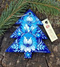 Kunstvolles Tannenbäumchen in Blau von Hand bemalt