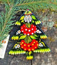 Tannenbäumchen aus Holz - handbemalter Weihnachtsschmuck