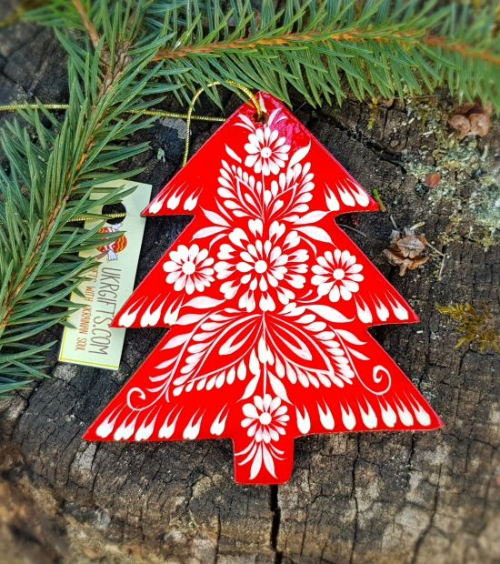 Wooden christmas ornament, unique hand painted christmas tree