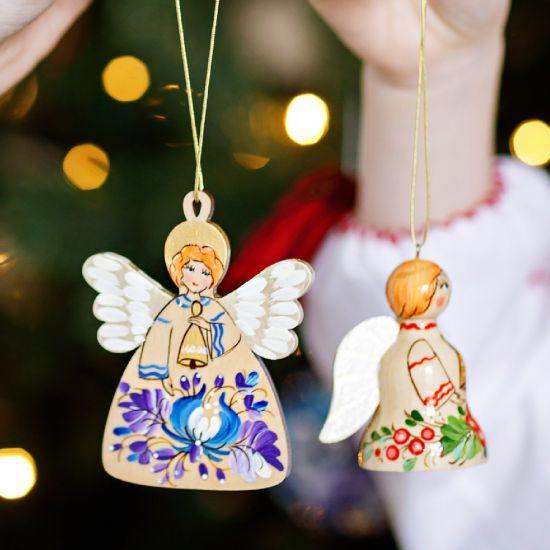 Hochwertige Weihnachtsdeko Engel und Glöckchen-Сhristbaumanhänger