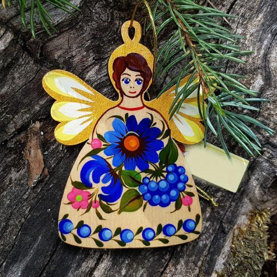Weihnachtsschmuck - Engelanhänger aus Holz mit blauen Blumen