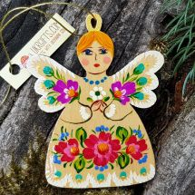 Rustic angel ornament, wooden hand painted Christmas tree decoration