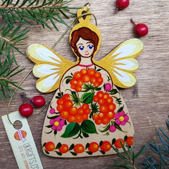 Christmas Angel ornament, hand painted on wooden, Petrykivka painting