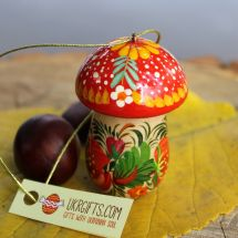 Fly agaric Christmas ornament and small box for gifts, handmade