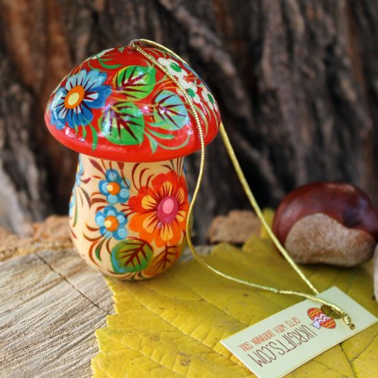 Mushrooms Christma ornament and small box for gifts, handmade