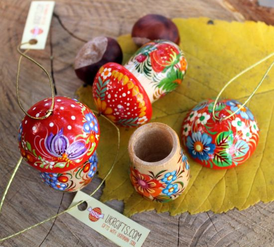 Fly agaric Mushroom Christmas ornament and small box for gifts, hand painted