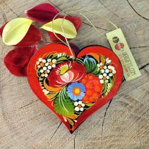 Origineller Weihnachtsschmuck Herz mit Blumenmuster