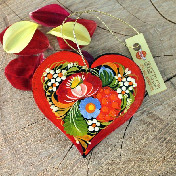 Origineller Weihnachtschmuck Herz mit Blumenmuster