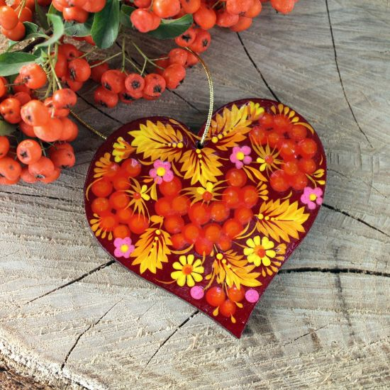 Hand painted Christmas decorations heart shape with Petrykivka painting