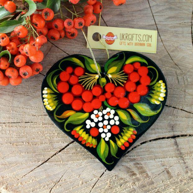 Herz - Holzanhänger für den Baum von Hand Bemalt