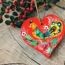 Rustikaler Baumschmuck Herz traditionell handbemalt