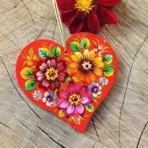 Special wooden Christmas ornaments Heart ukrainian painted