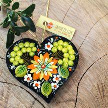 Weihnachtsbaumschmuck-Holzfigur-Herz mit grünem Muster