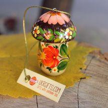 Mushroom Christmas ornaments and small box for gifts, handmade
