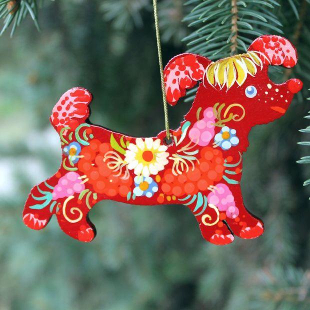 Funny Christmas tree decoration - dog, Ukrainian folk art