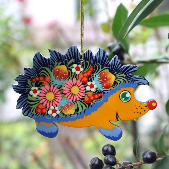 Hedgehog Christmas ornaments, both sides hand painted