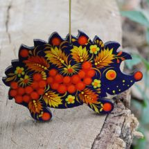 Hedgehog animal Christmas ornament, wooden, hand painted in Petrykivka style