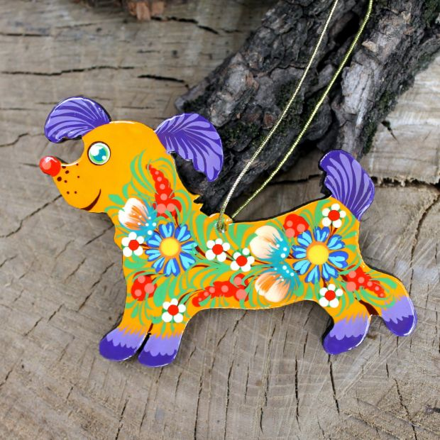 Hund-Christbaumanhänger aus Holz, ukrainisches Kunsthandwerk