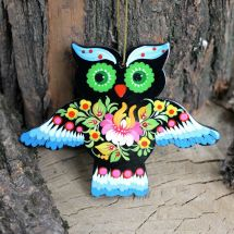 Funny Christmas decorations owl made of wood, hand painted Petrykivka