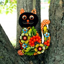 Black cat - Tree decorations with Petrykivka painting