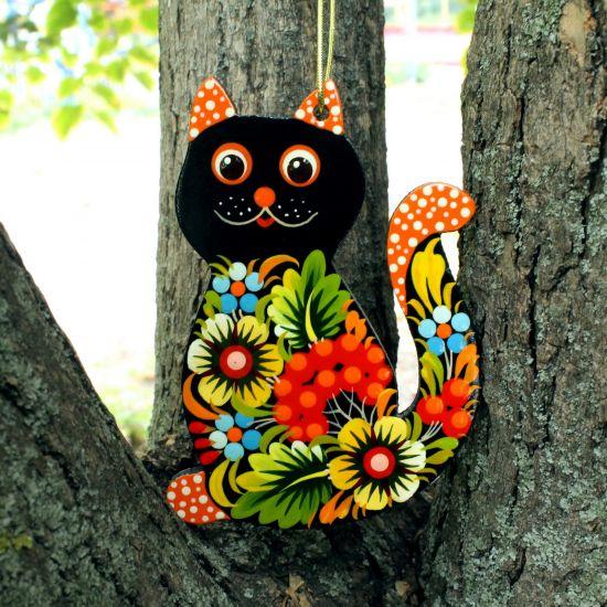 Funny tree decoration -black cat, Petrykivka painting