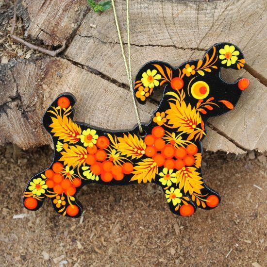 Handmade wooden tree ornament -Dog, Petrykivka painting