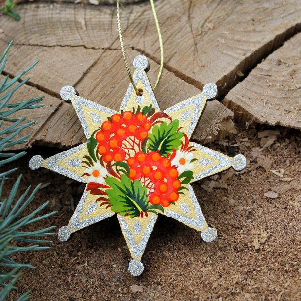 Christmas stars ornament wooden, Patrykivka painting