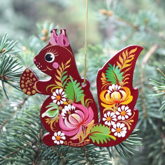 Christmas wooden ornament, hand-painted squirrel