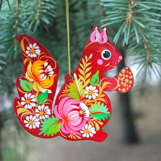 Christmas decoration wooden animal, hand-painted squirrel