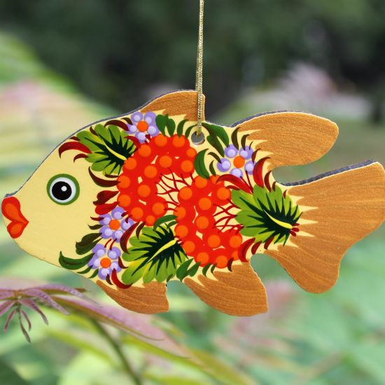 Christmas tree decorations figures fish made of wood, delicately painted on both sides