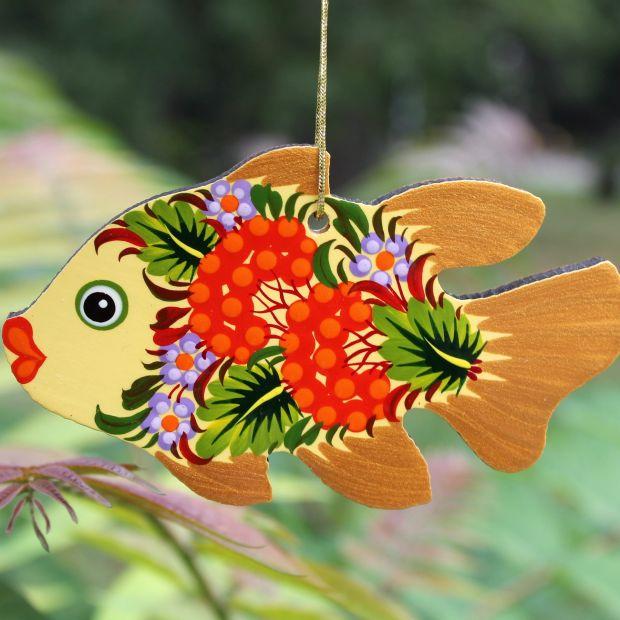 Weihnachtsbaumschmuck Figuren Fisch aus Holz, beidseitig zart bemalt