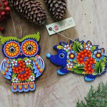 Christmas ornaments Owl and hegehog hand painted wooden decorations