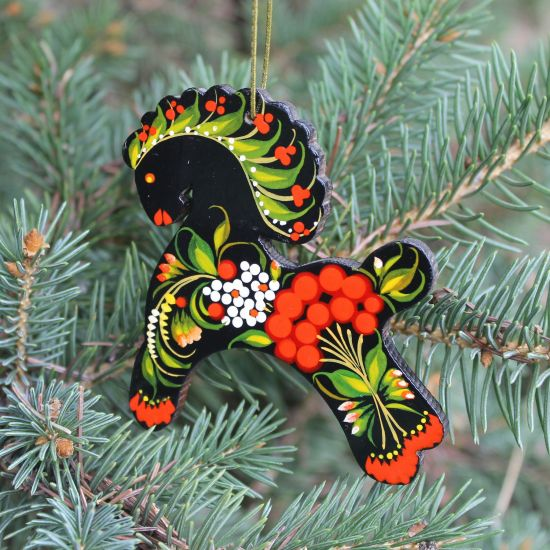 Christmas tree decoration horse made of wood traditionall hand painted