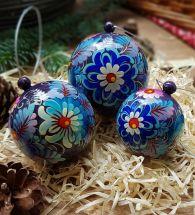 Handbemalte Christbaumkugeln - Geschen boxes in Blau, Set mit 3 St. (8-7- 5.5 cm)