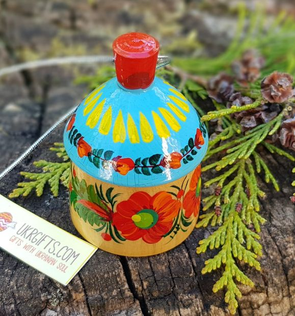Wooden figured christmas bell country house, ukrainian ethnic Petrykivka painting