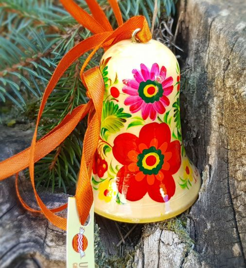 Сhristmas bell rustic ornament, made of wood, hand painted