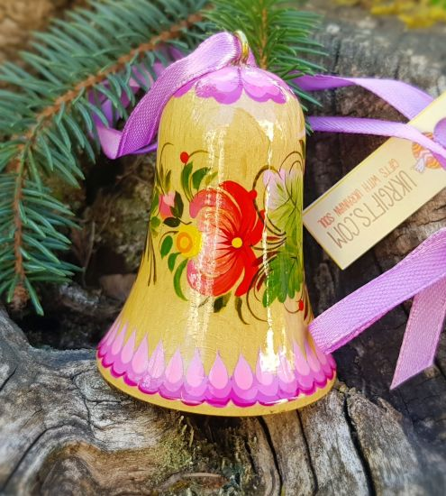 Сhristmas bell decoration, made of wood, hand painted