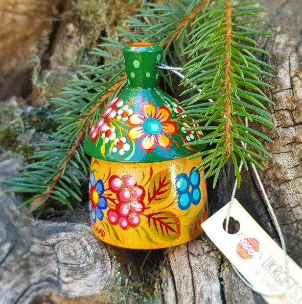 Handmade ethnic decorative hanging wooden figured bell country house, Petrykivka painting