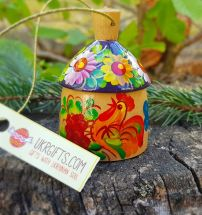 Small wooden figured bell country house, ukrainian ornament