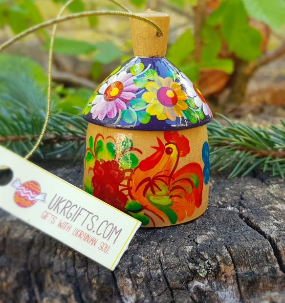 Small wooden figured bell country house, ukrainian ethnic christmas ornament